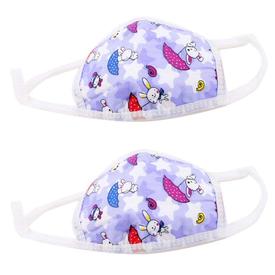 2 Pcs Blue Dust Protective Earloop Face Mask Mouth Nose Muffle for Child