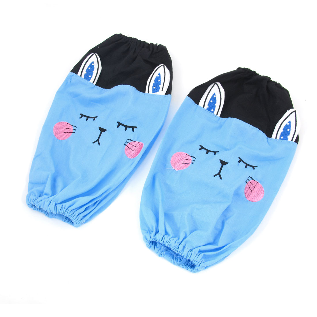 Kitchen Blue Black Cartoon Rabbit Pattern Elastic Cuff Oversleeves Pair