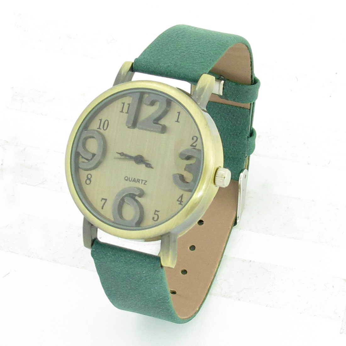 Women Dark Green Faux Leather Watchband Round Dial Wrist Watch