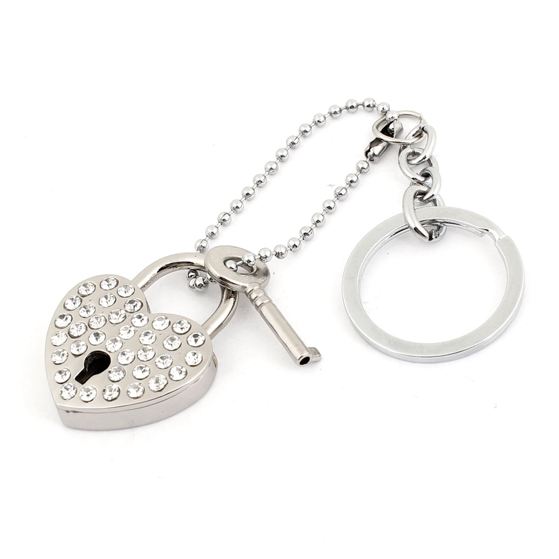 Lovers Heart Rhinestone Inlaid Lock Pendent Keyring Chain Key Holder