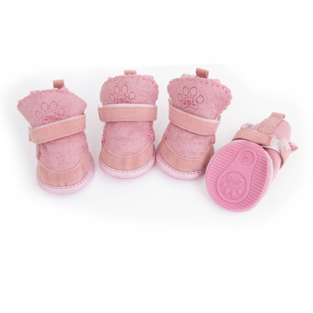 Size 4 Nonslip Sole Doggy Dog Snow Boots Style Shoes Pink 4 Pcs