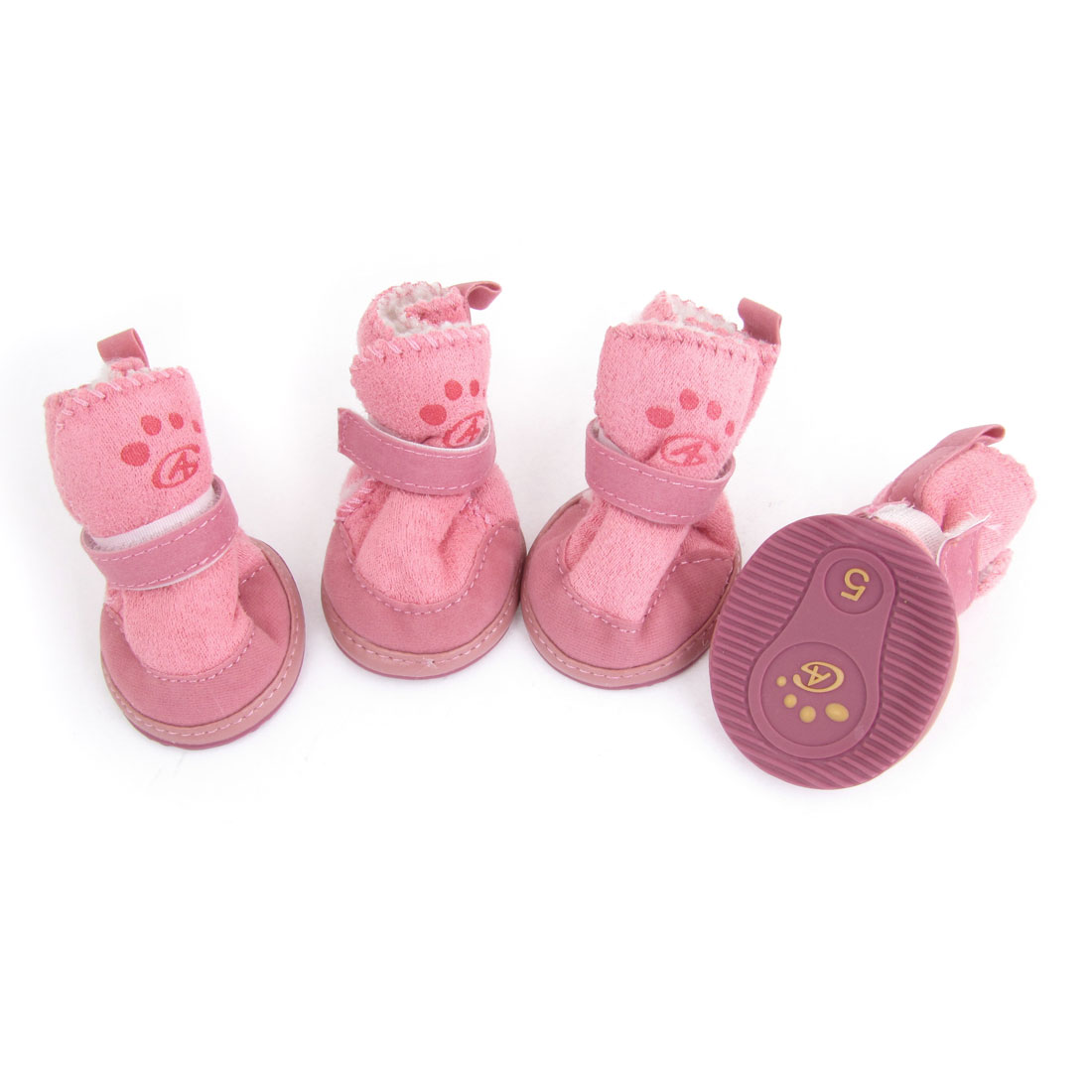 Size 5 Rubber Sole Doggy Dog Snow Boots Shaped Shoes Pink 4 Pcs