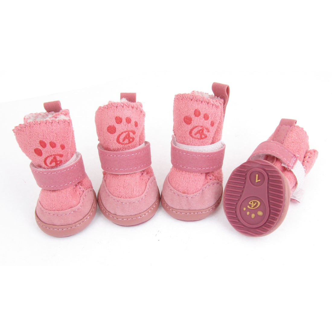 Size 1 Nonslip Sole Doggy Dog Snow Boots Shape Shoes Pink 4 Pcs