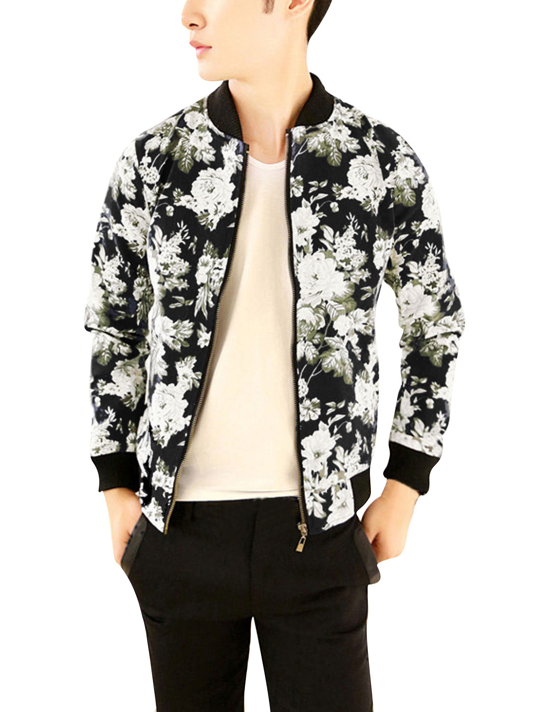 Men's Fashionable Flower Pattern Black Long Sleeve Jacket S