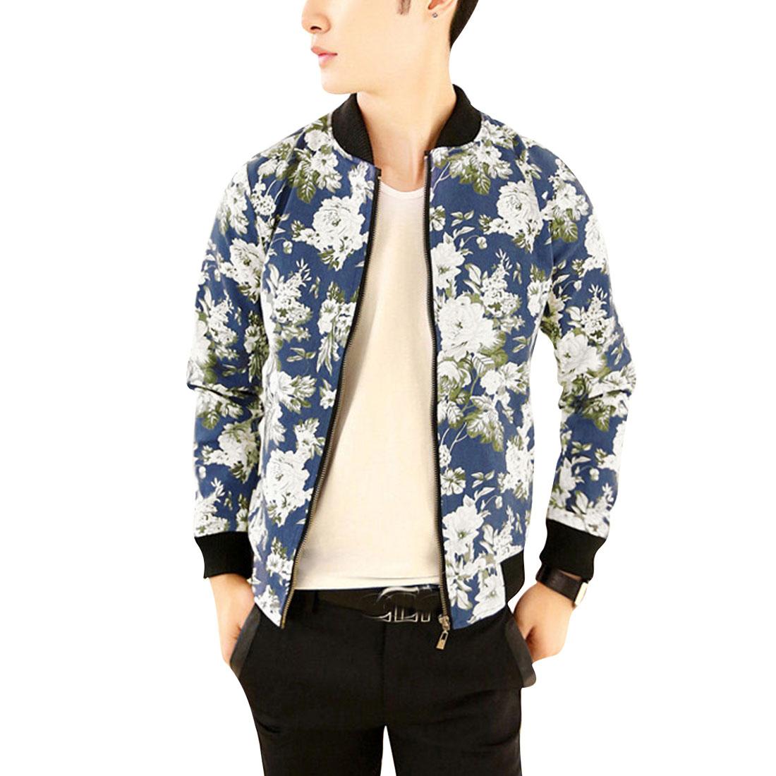 Men's Stylish Zip Up Stand Collar Blue Flower Pattern Jacket S