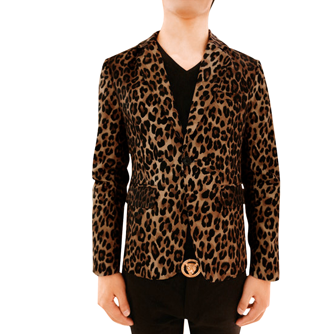 Men Peaked Lapel One Button Leopard Pattern Pockets Blazer Black Brown S