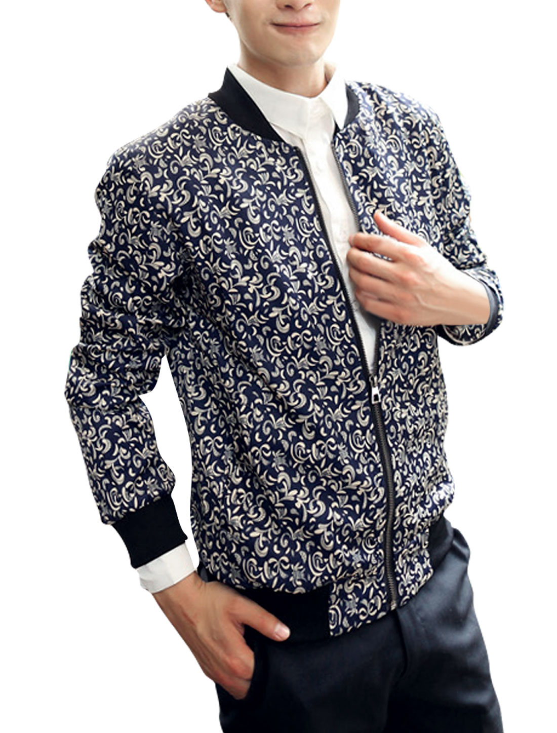 Men Zip Closure Long Sleeved Paisleys Navy Blue Casual Jacket M