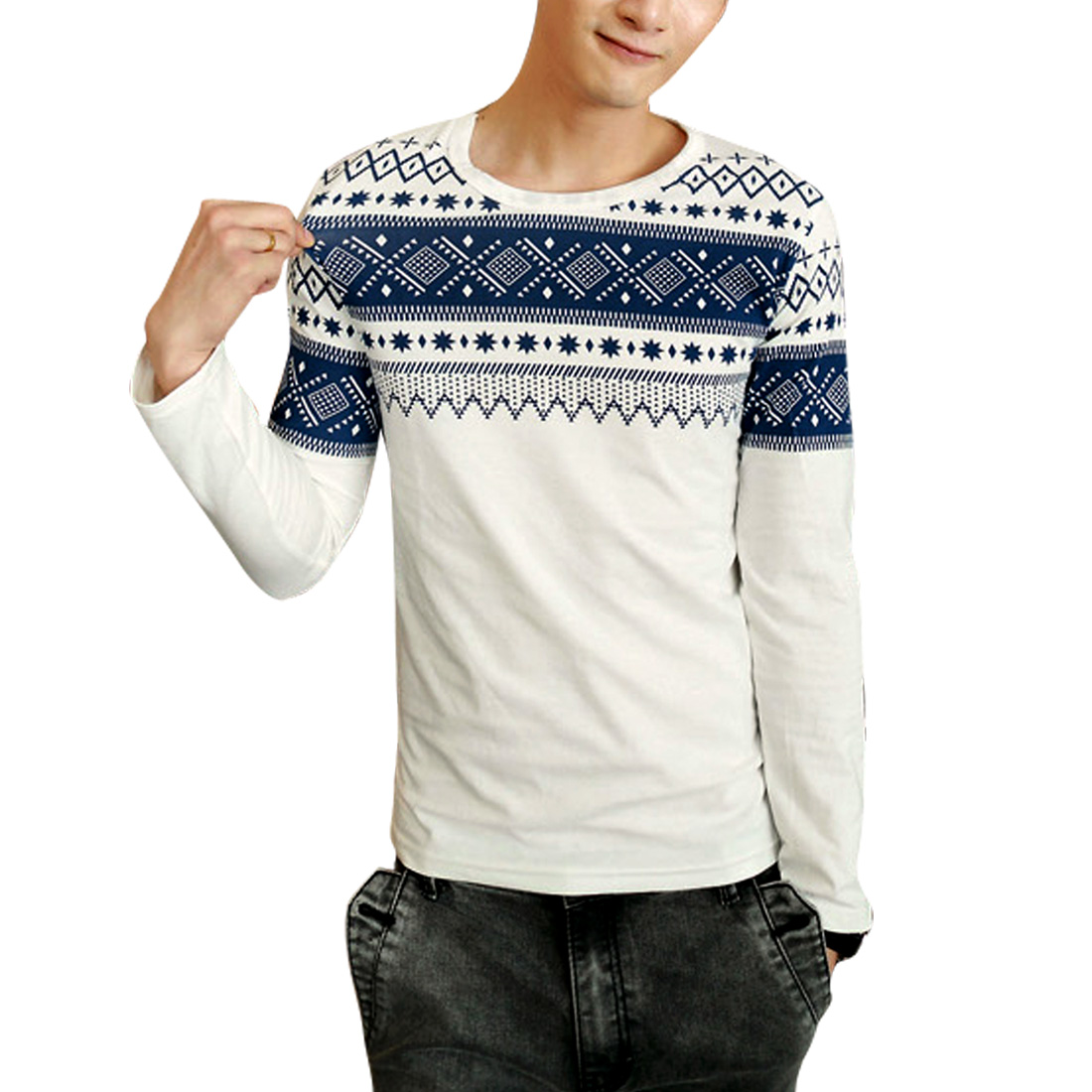 Round Neck Long Sleeve White Spring Top Shirt for Man S