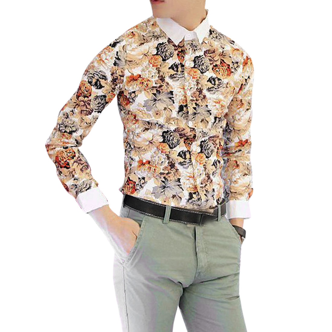 Men Button Front Long Sleeved Multicolor Flower Pattern Shirt S