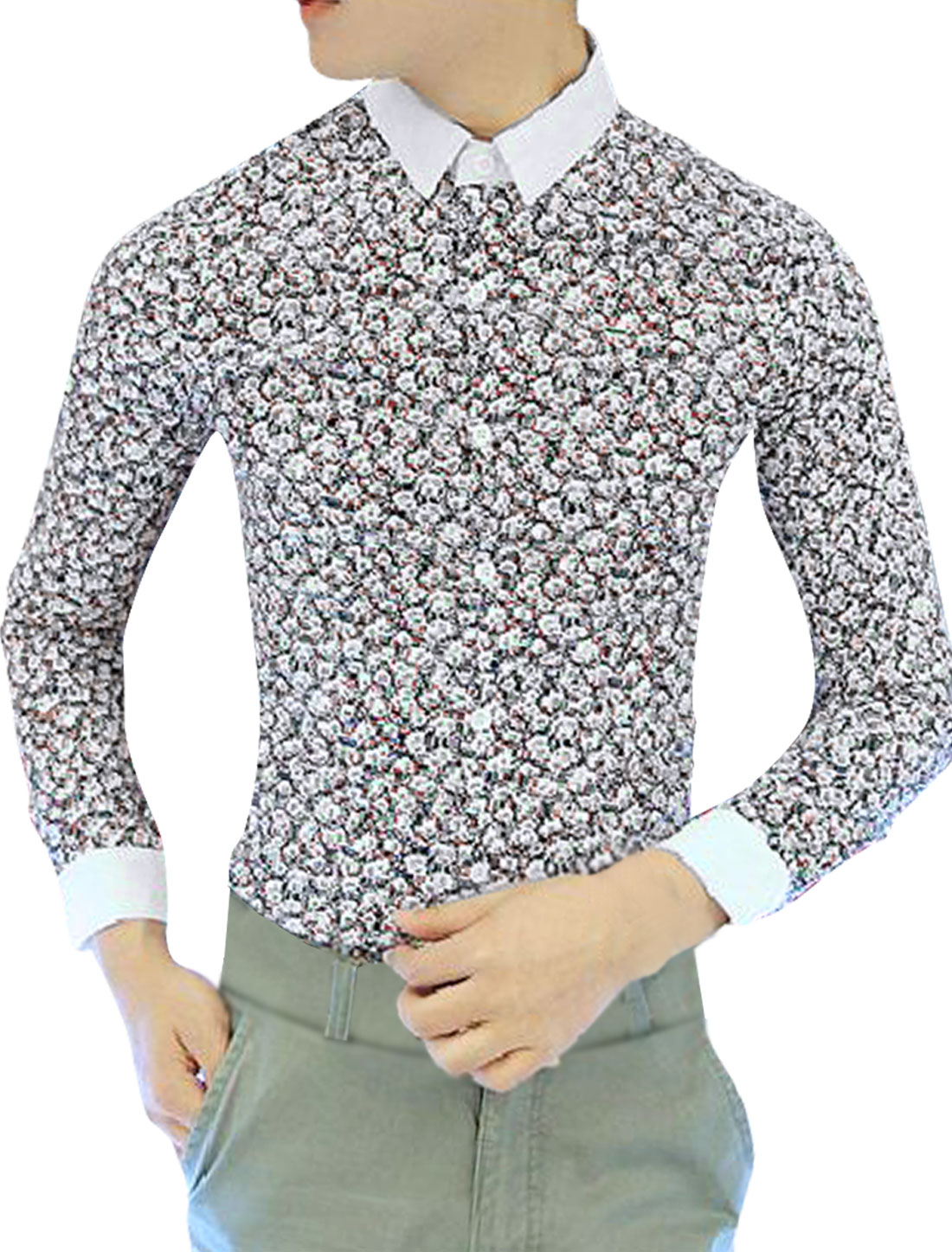 Men Button-Front Point Collar Multicolor Flower Pattern Shirt S