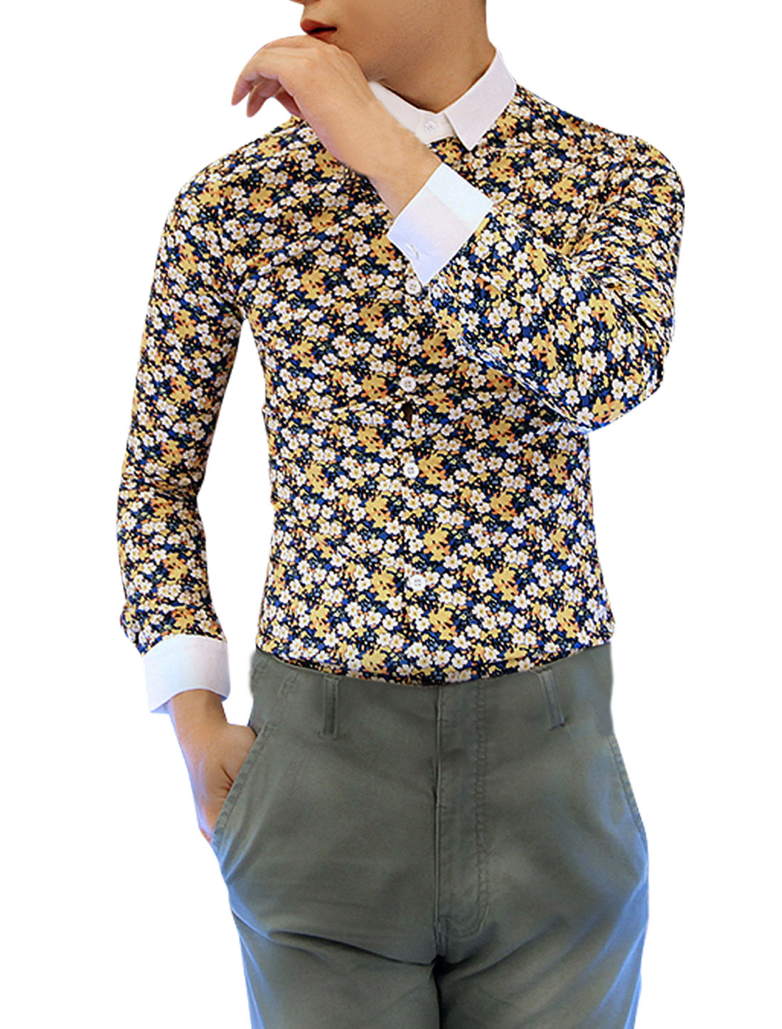 Men Long Sleeved Point Collar Multicolor Flower Pattern Shirt S