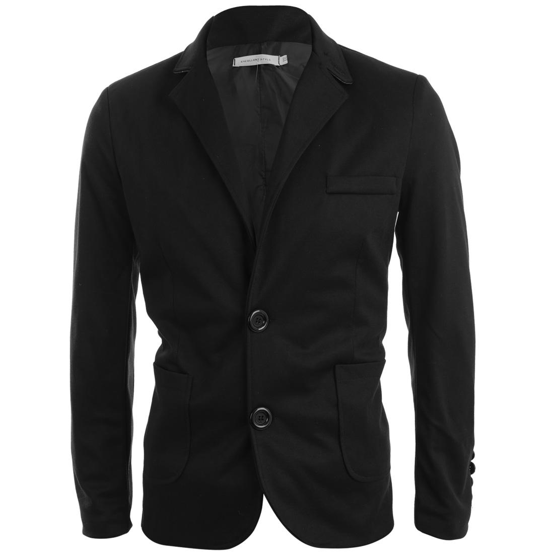 Men Convertible Collar Two Button Pockets Design Blazer Black S