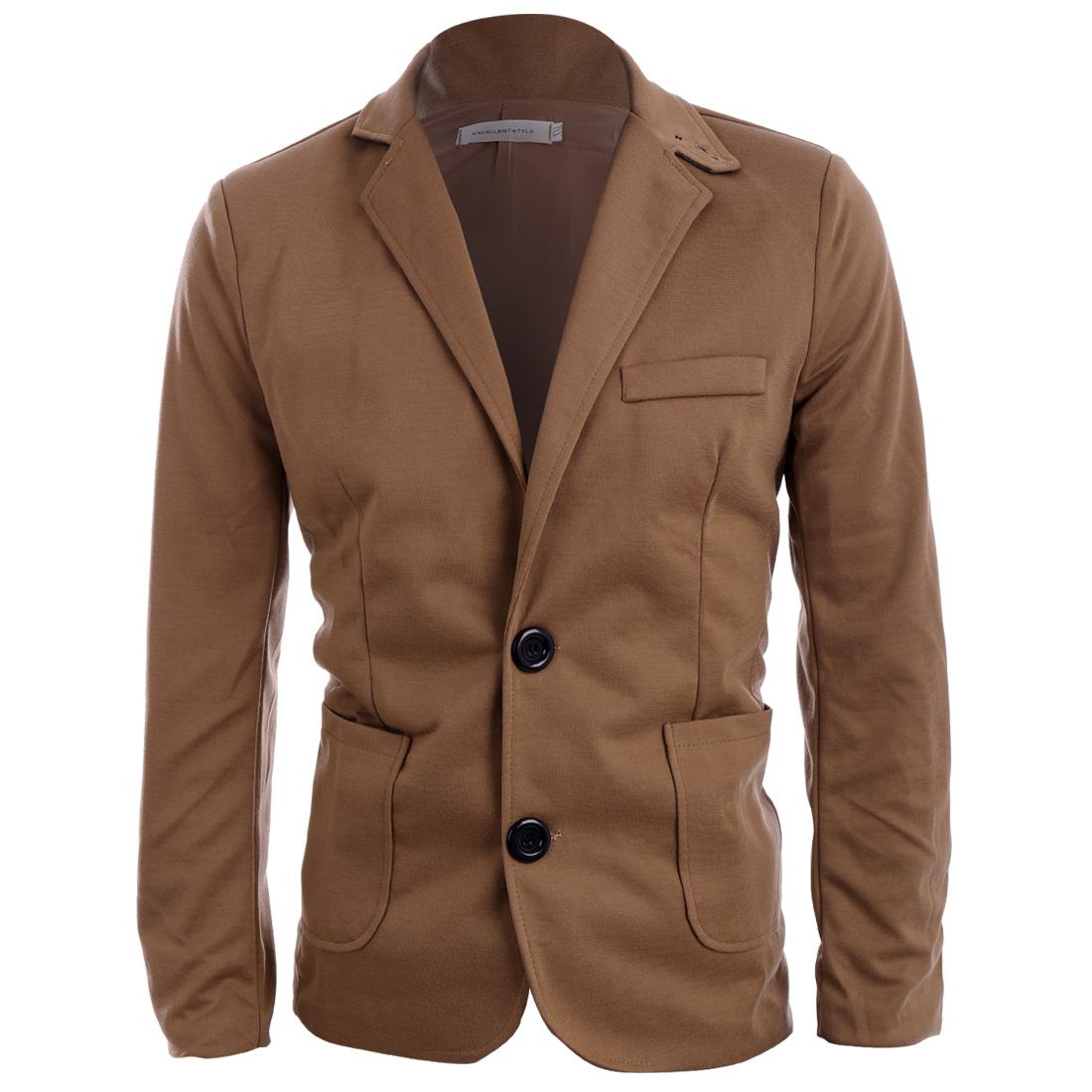Men Two Button Closure Long Sleeve Fake Chest Pocket Blazer Khaki S