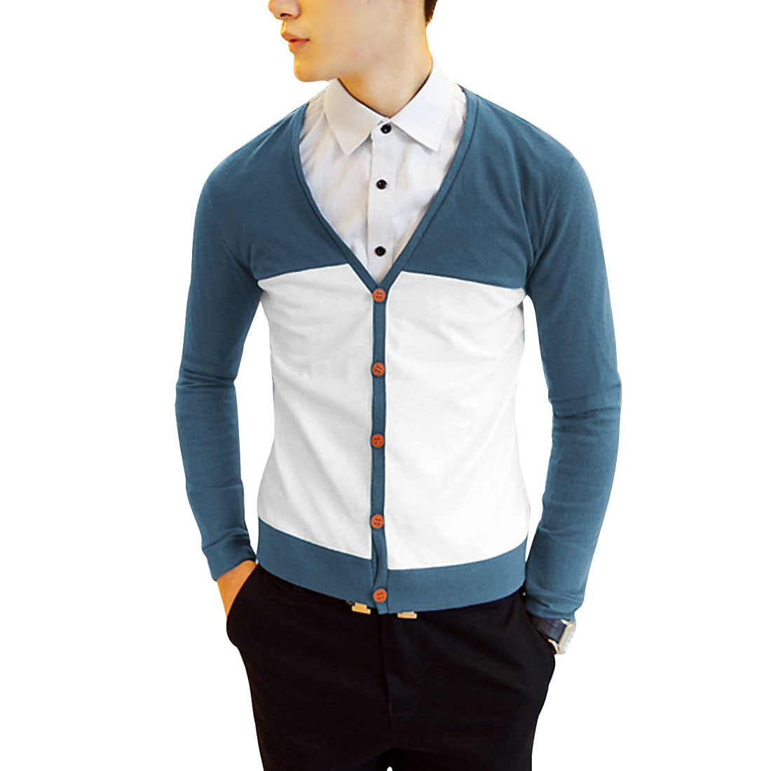 Men Chic V-Neck Navy Blue White Contrast Color Button-Front Cardigan S