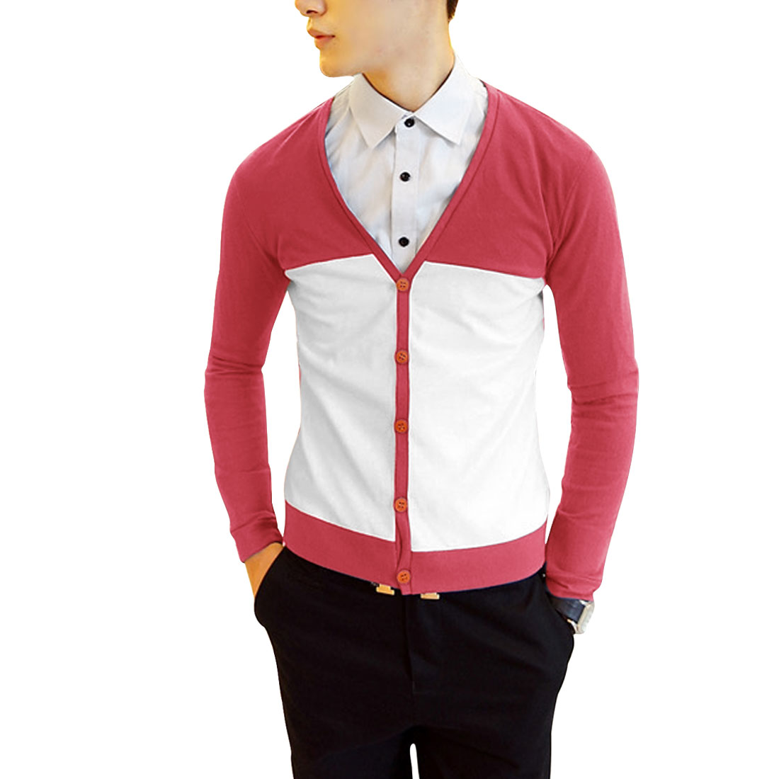 Chic Watermelon Red White Contrast Color Casual Cardigan for Man S