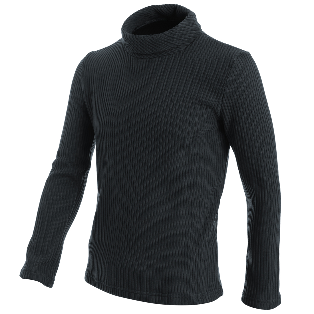 Men Fashion Turtle Neck Long Sleeve Dark Gray Textured Sweater S