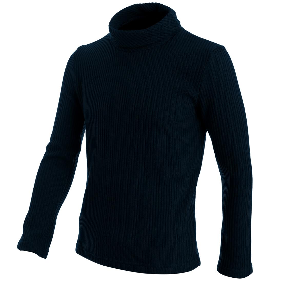 Mans Pure Dark Blue Fleece Lined Warm Winter Sweater S
