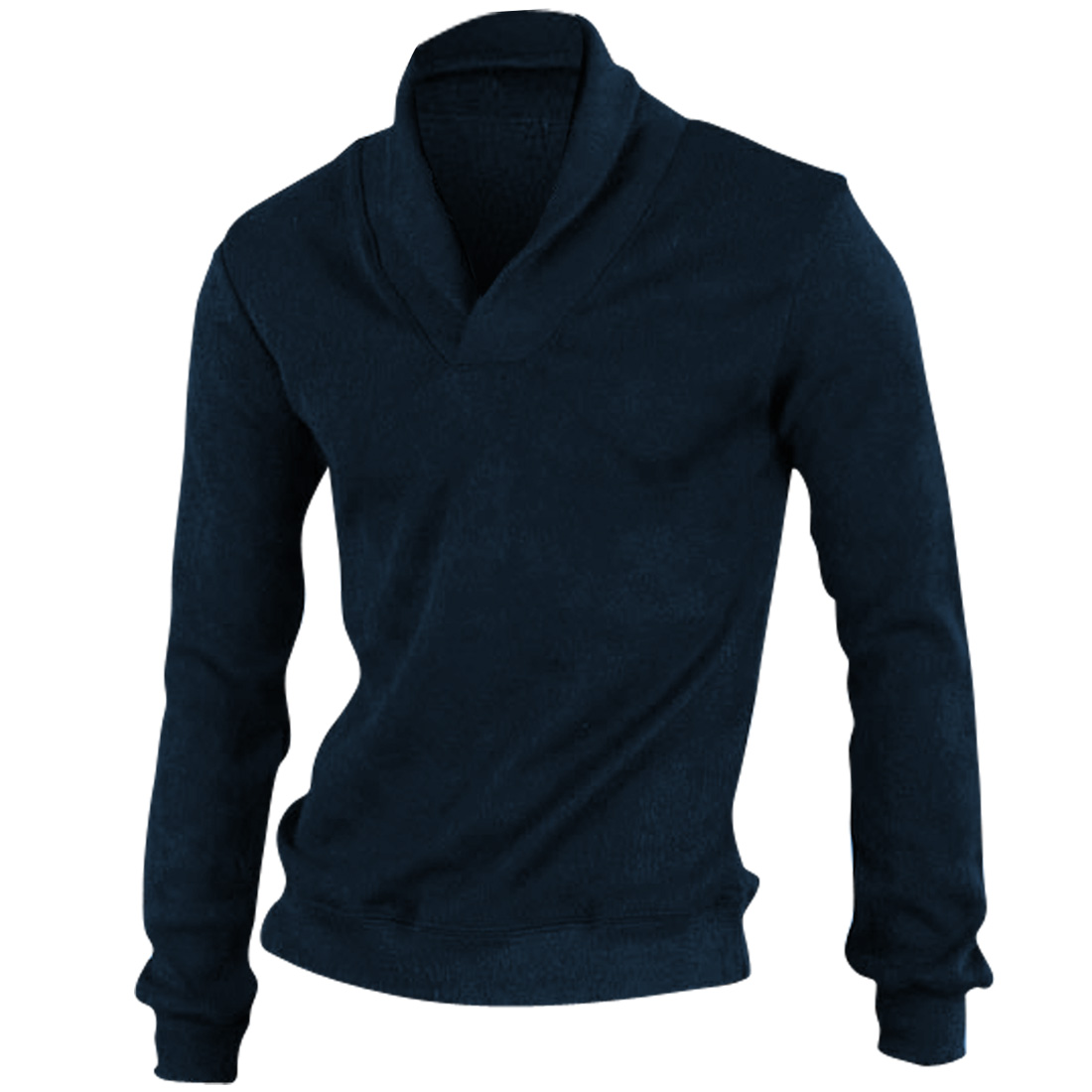Men Stylish Convertible Collar Pullover Navy Knitting Shirt M