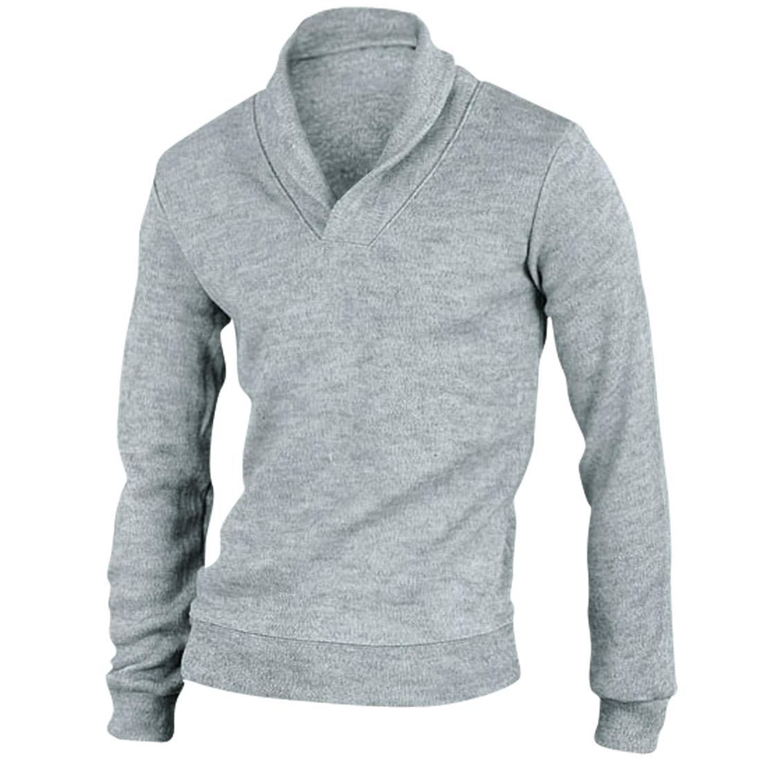Men Fashion Stretchy Long Sleeved Light Gray Knit Shirt M