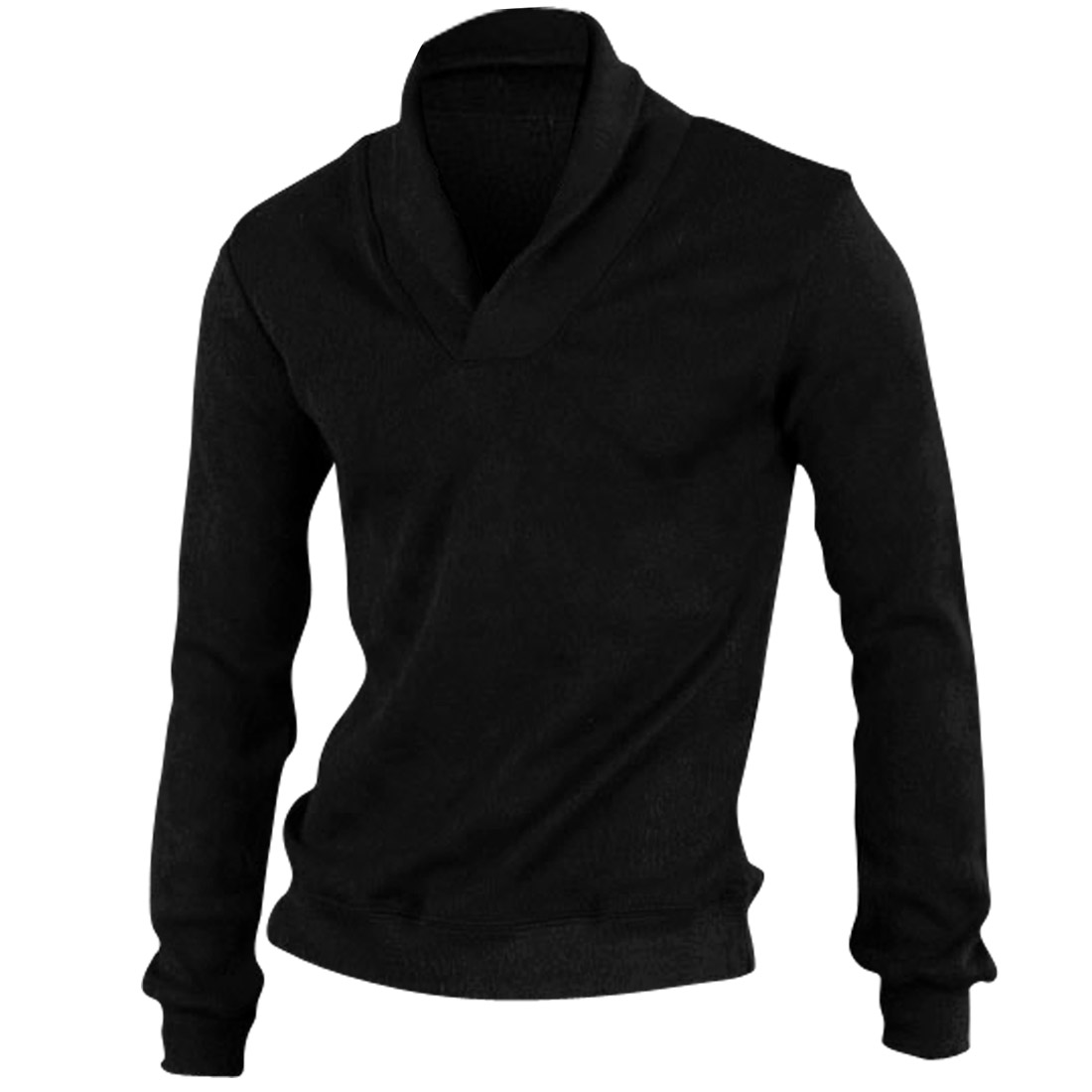 Men Convertible Collar Long Sleeved Slim Black Knit Shirt M