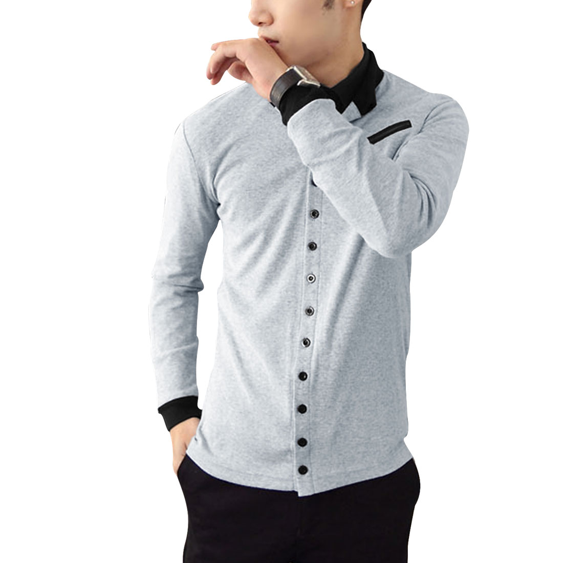 Men Chic Light Gray Single-Breasted Front Casual Cardigan S