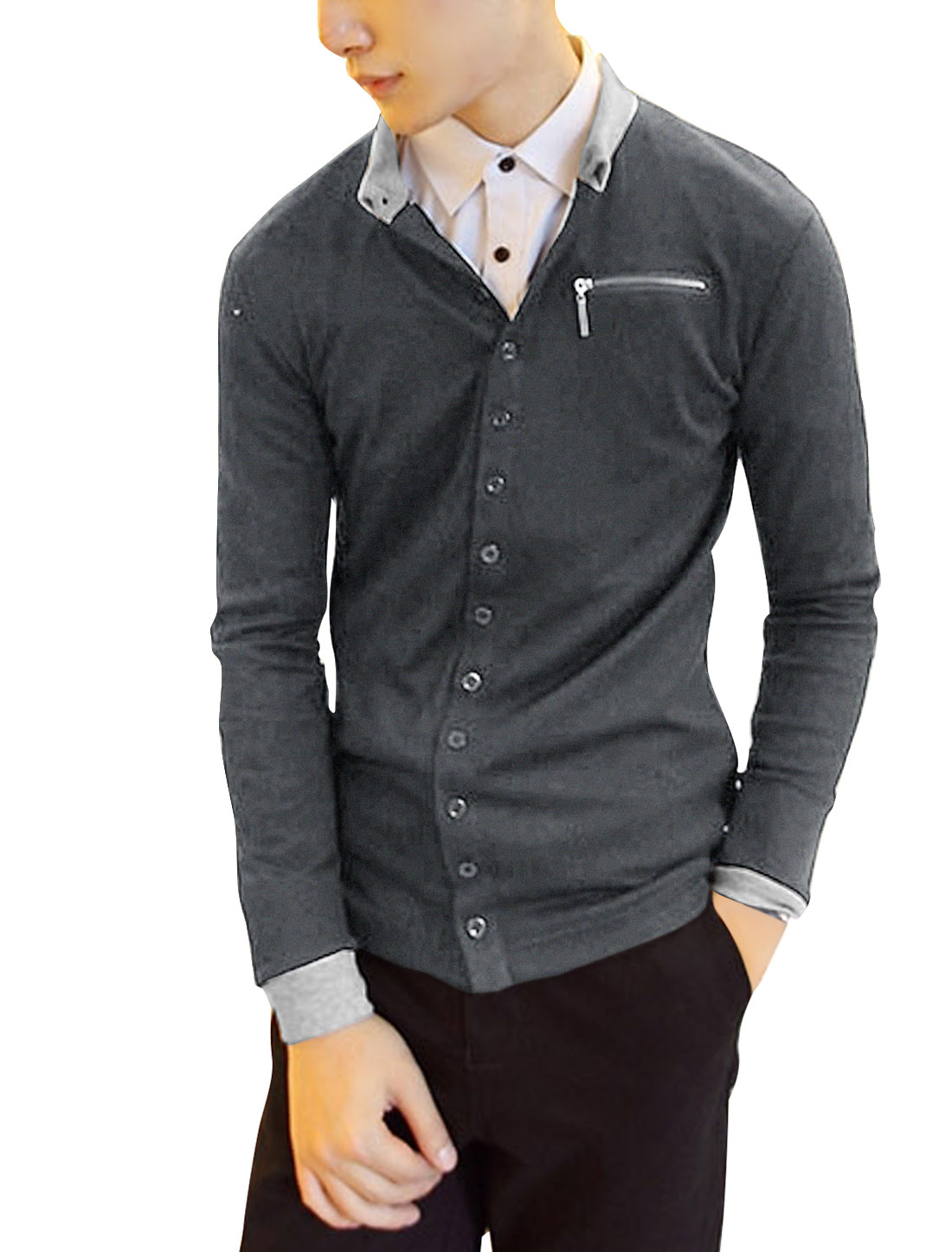 Stylish Dark Gray Button-Front Casual Cardigan Shirt for Man S