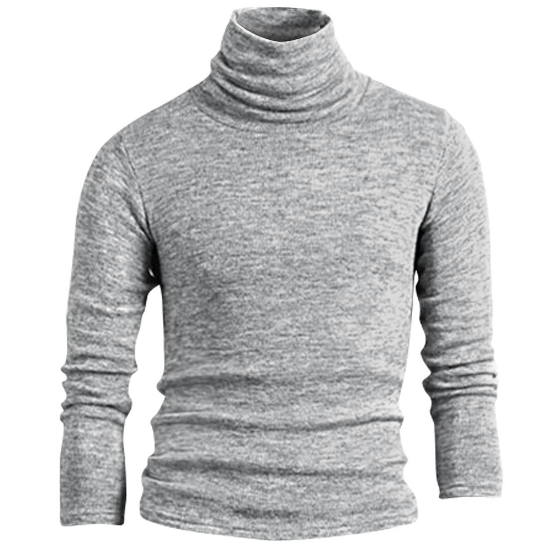 Men Pullover Turtle Neck Slim Knit Light Gray Shirt S