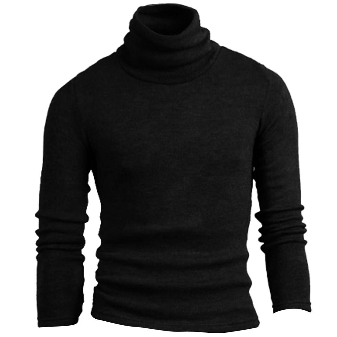 Men Long Sleeve Solid Color Pure Pattern Black Knit Shirt S
