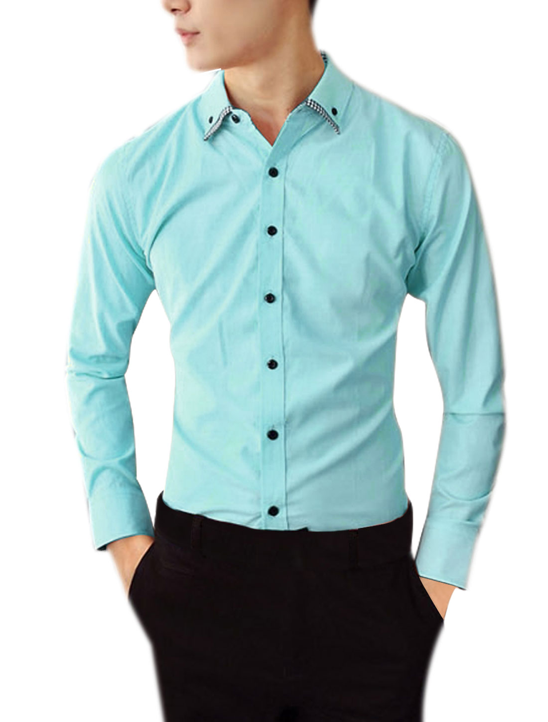 Man Chic Light Blue Point Collar Long Sleeve Slim Fit Top Shirt M