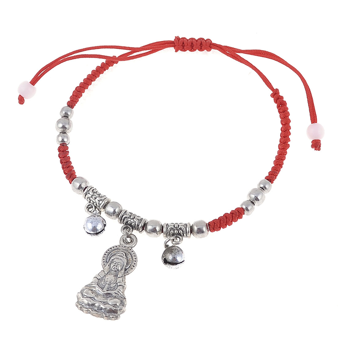 Lady Red Handmade Braided Rope Kwan-yin Shape Pull String Wrist Bracelet