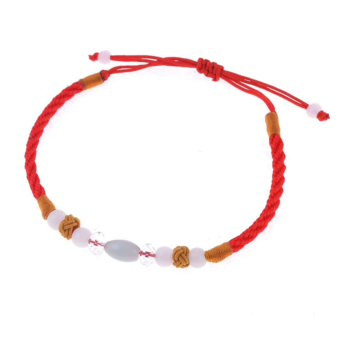 Lady Red Handmade Braided Rope Beads Plastic Faced Crystal Decor Pull String Wrist Bracelet