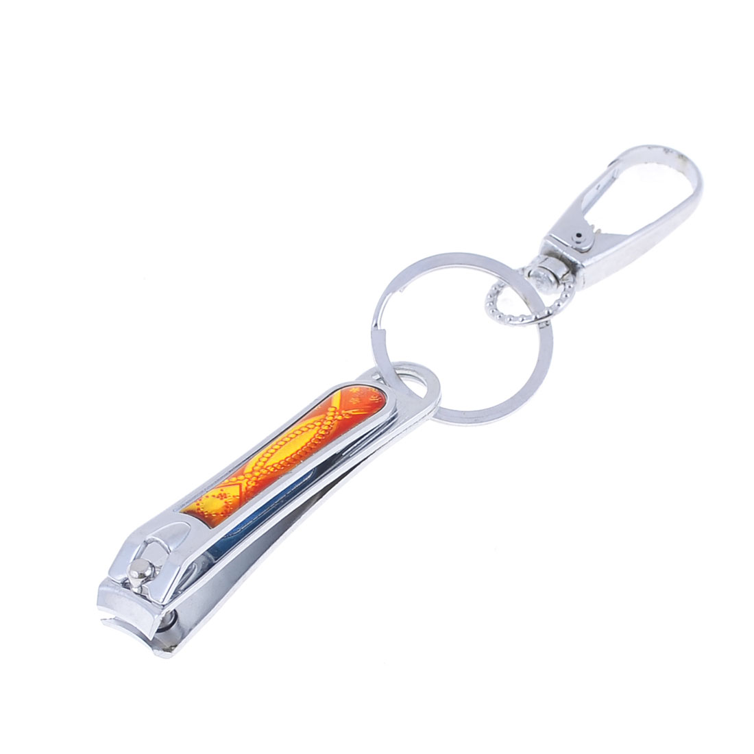 Orange Print Nail Clipper Silver Tone Spring Loaded Hook Clasp Metal Keyring