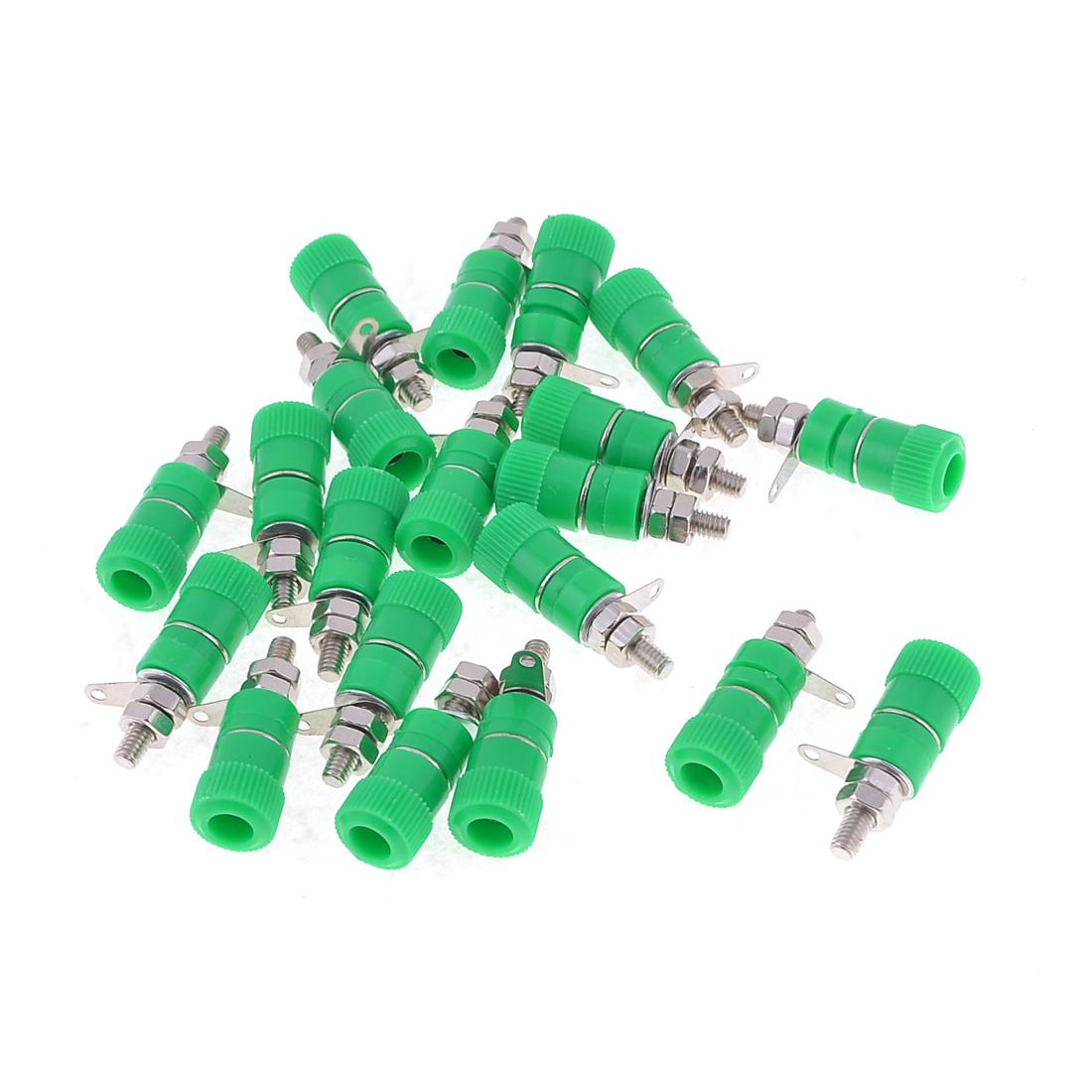 20 Pcs Green Plastic Shell Metal Body 3mm Dia Thread Banana Binding Post