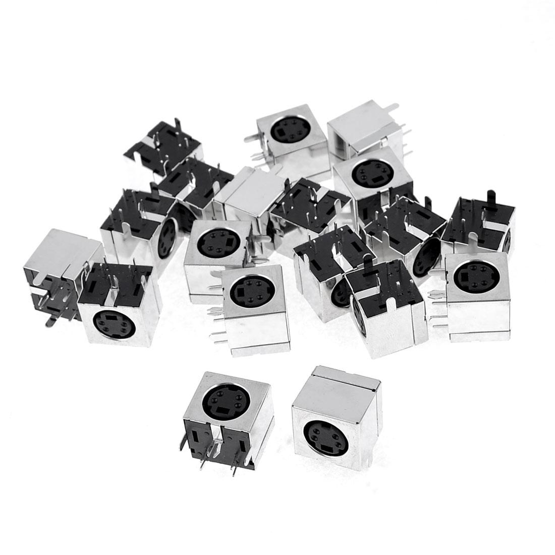 20 Pcs Silver Tone Metal Case S-Video 4 Pins Mini DIN Female Socket