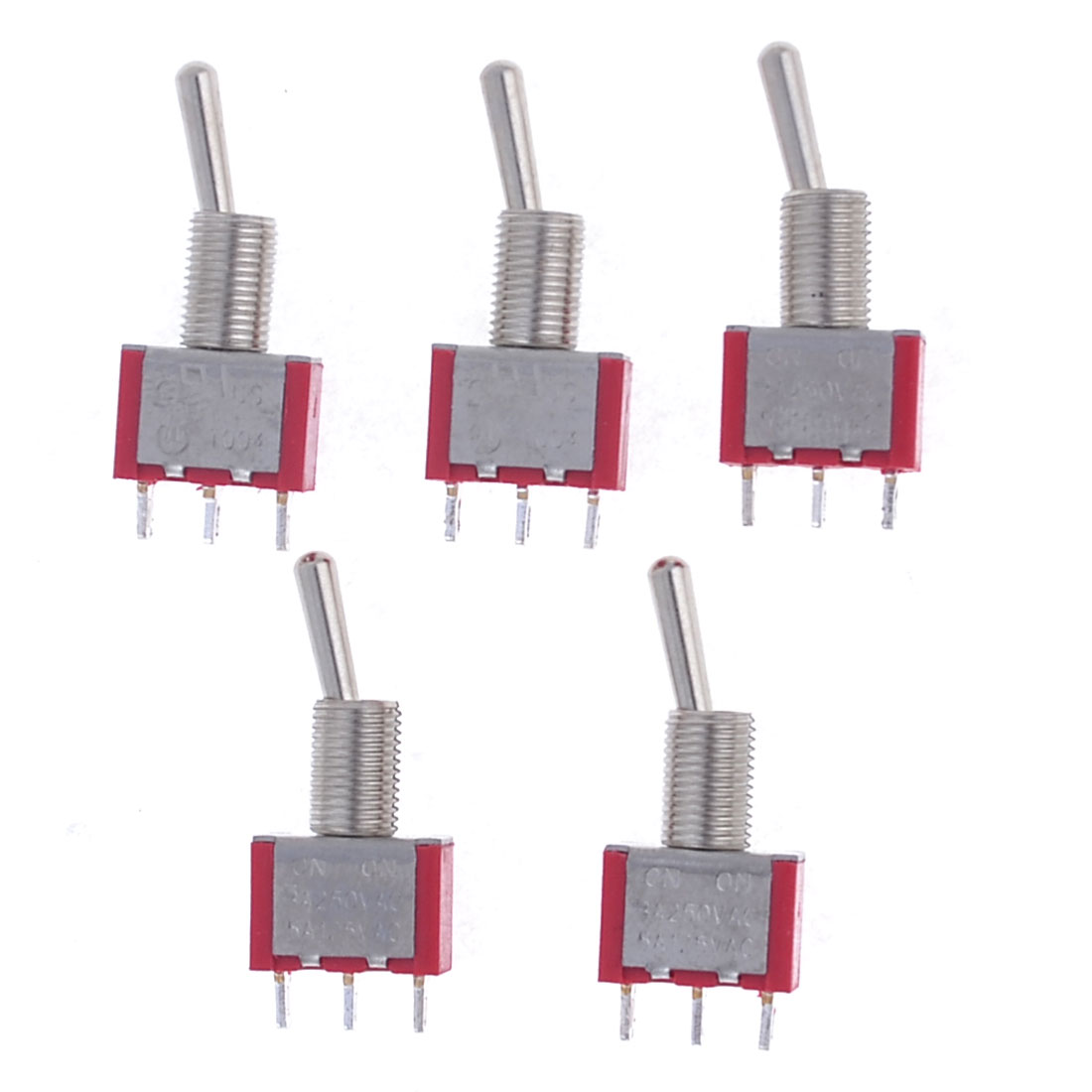 Red 5A 125VAC/ 3A 250VAC SPDT 3 Pin On/On 2 Position Toggle Switch