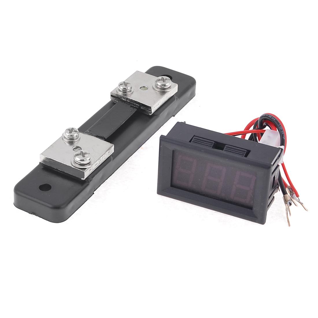 Boat Guage Current Range 0-50A Ammeter LED Digital Display w Shunt