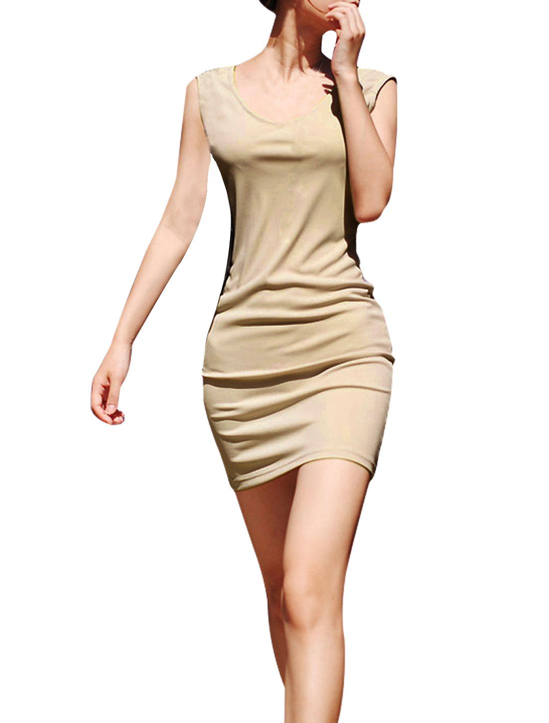 Stylish Khaki Color V-Neck Slim Fit Mini Dress L for Woman