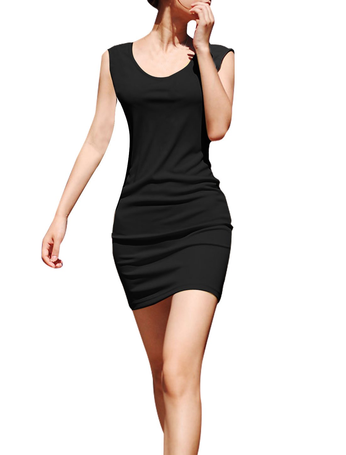 Solid Black Stretchy Hip-Hugging Mini Dress M for Women