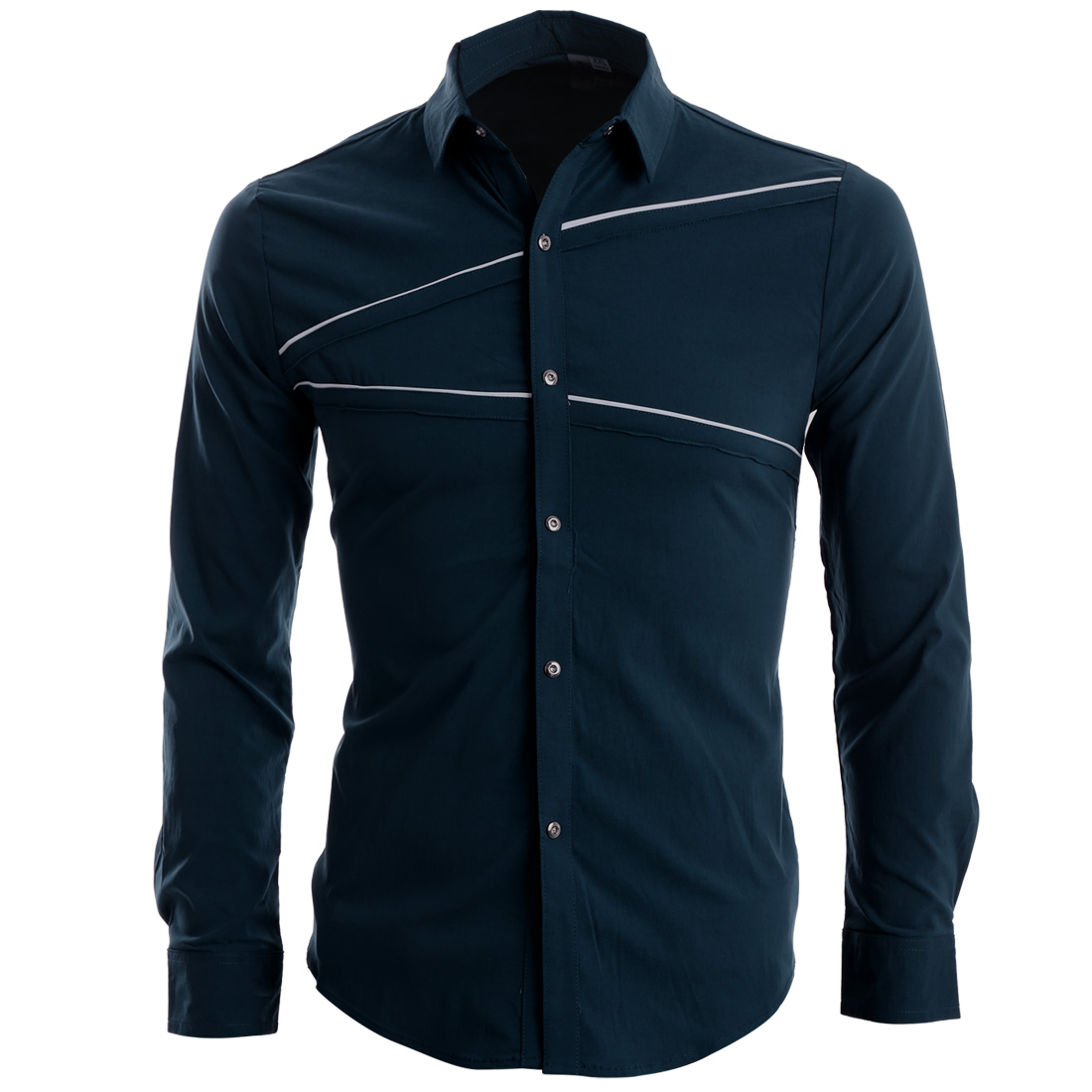 Men Snap Button Front Long Sleeve Round Hem Chic Shirt Navy Blue S