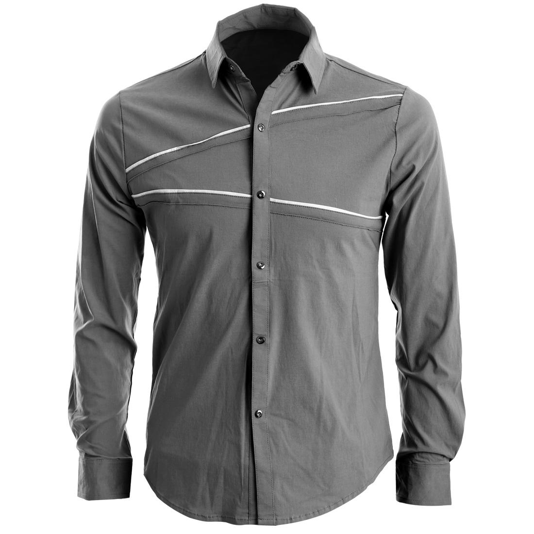 Men Point Collar Long Sleeve Snap Button Up Cuffs Shirt Gray S