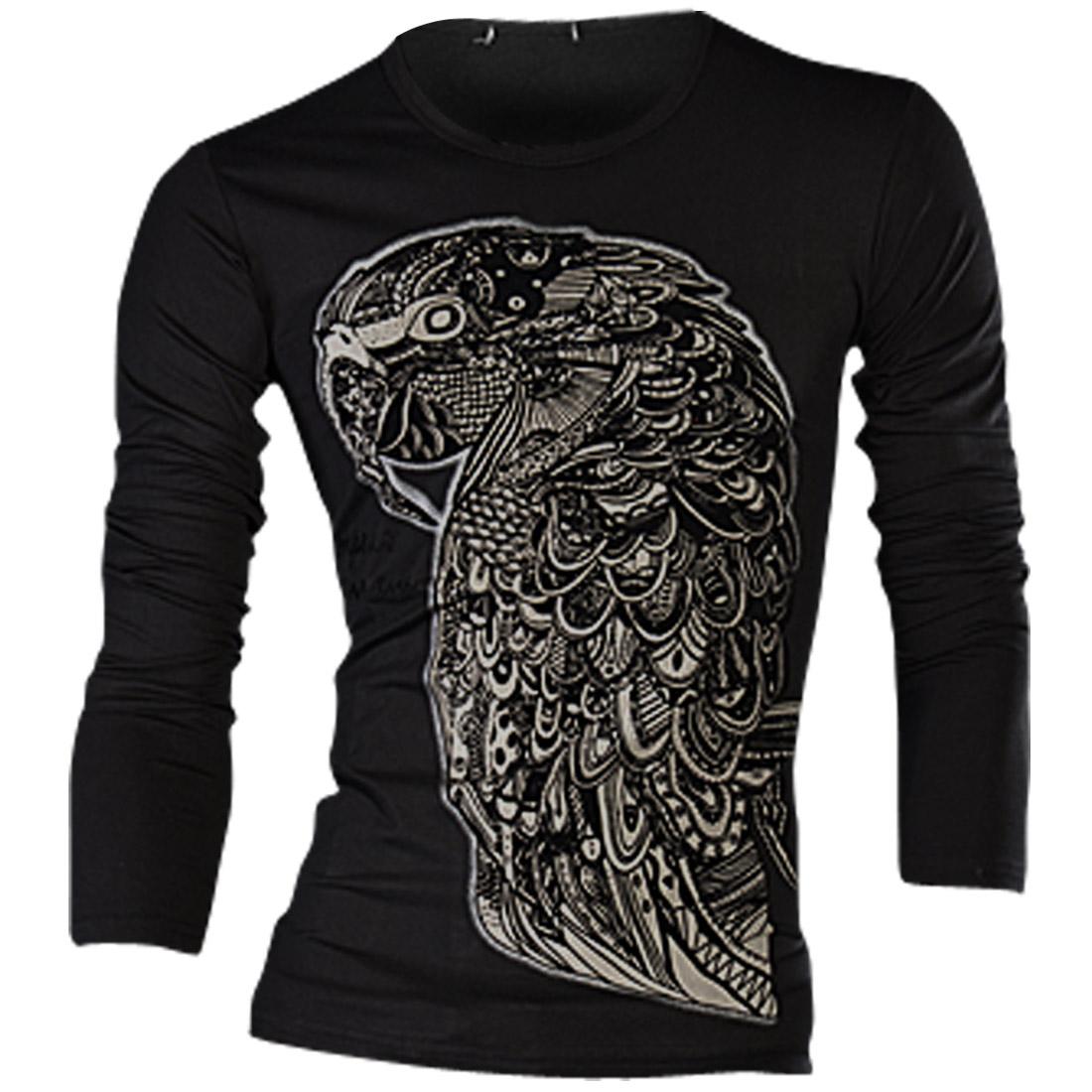Men Long Sleeved Parrot Print Fashion Slim Black Top Shirt S