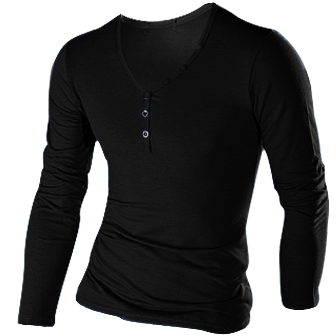 Black 1/2 Button Down Decor Long Sleeved Stretchy Man T-shirt M