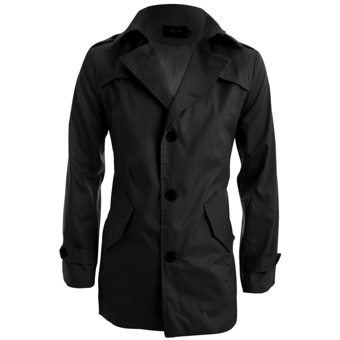 Man Long Sleeve Button-Tab Epaulets Black Autumn Trench Jacket M
