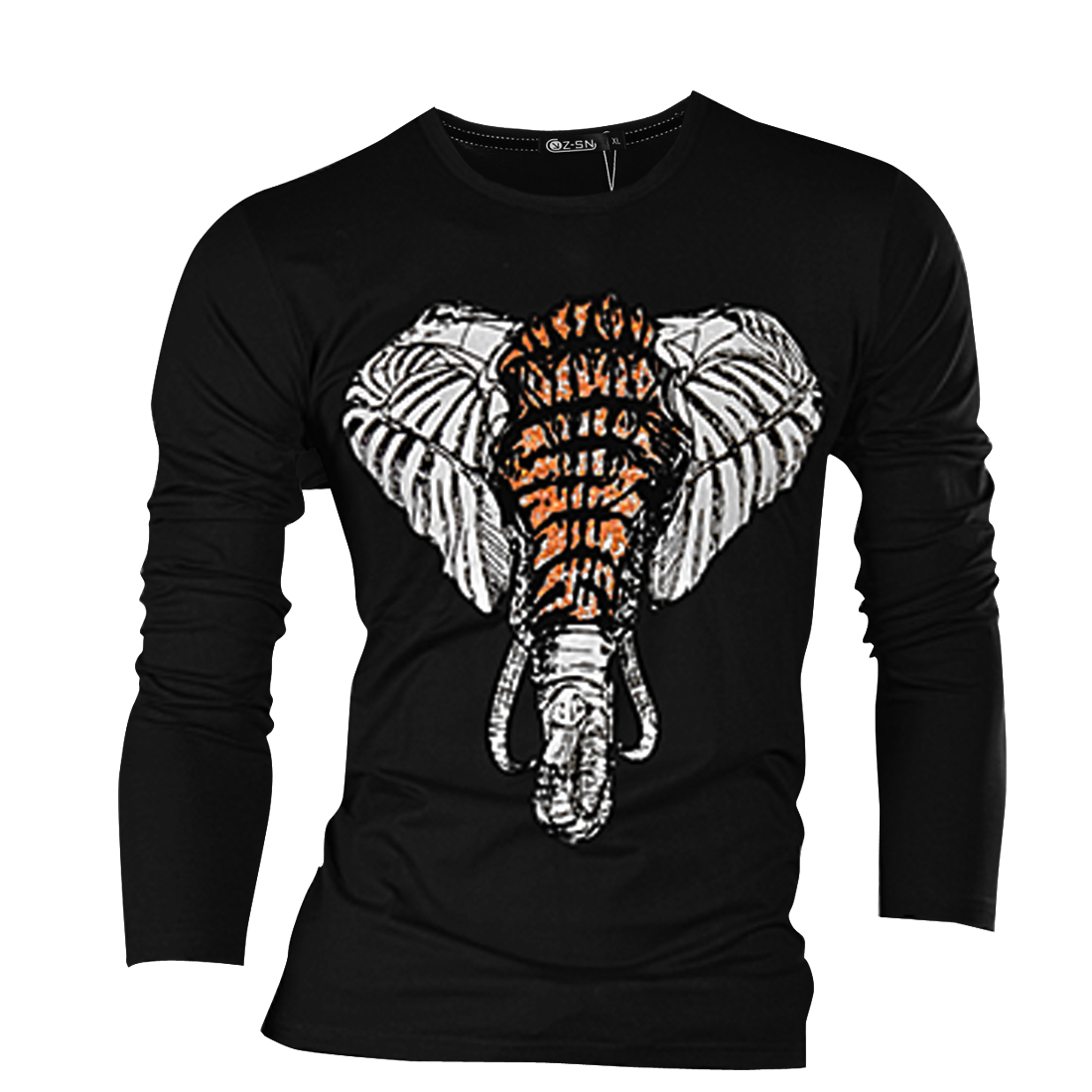 Men Round Neck Long Sleeve Chic Elephant Pattern Black T-Shirt S