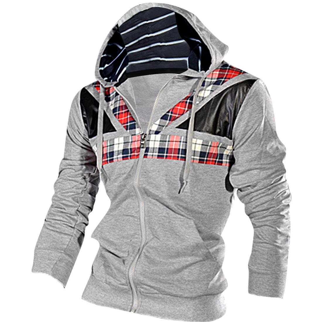 Man's Easy-matching Gray Spliced Design Plaids Hoodie S