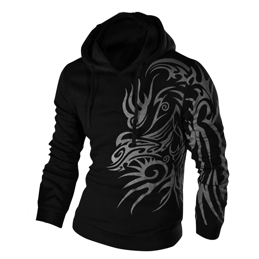 Men Long Sleeve Chic Novelty Pattern Black Drawstring Hoodie M