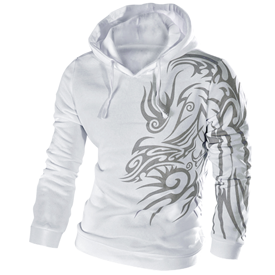 Chic Novelty Printed White Drawstring Hoodie for Man M