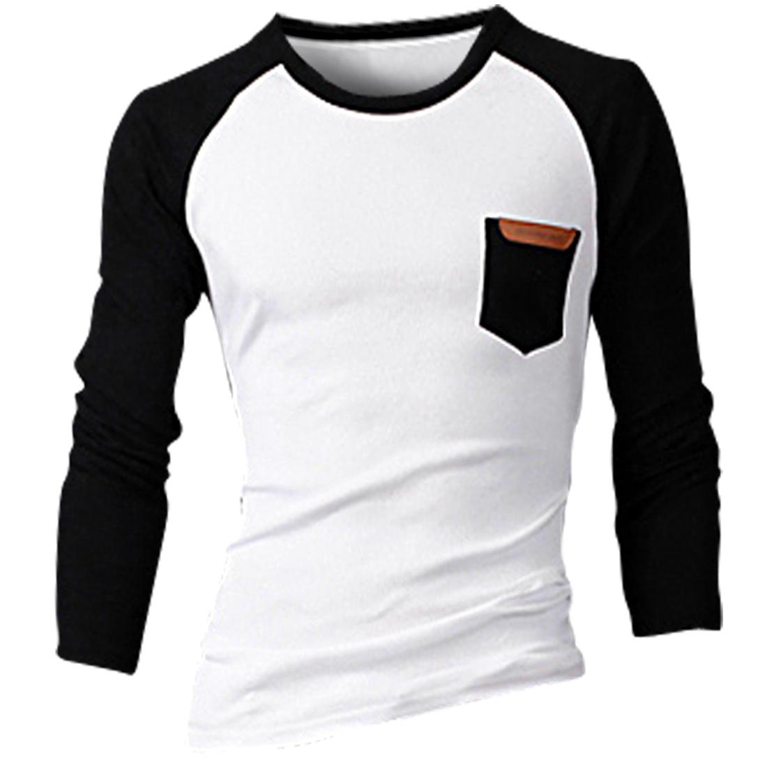 Men Raglan Sleeve Contrast Color T-shirt Black White M