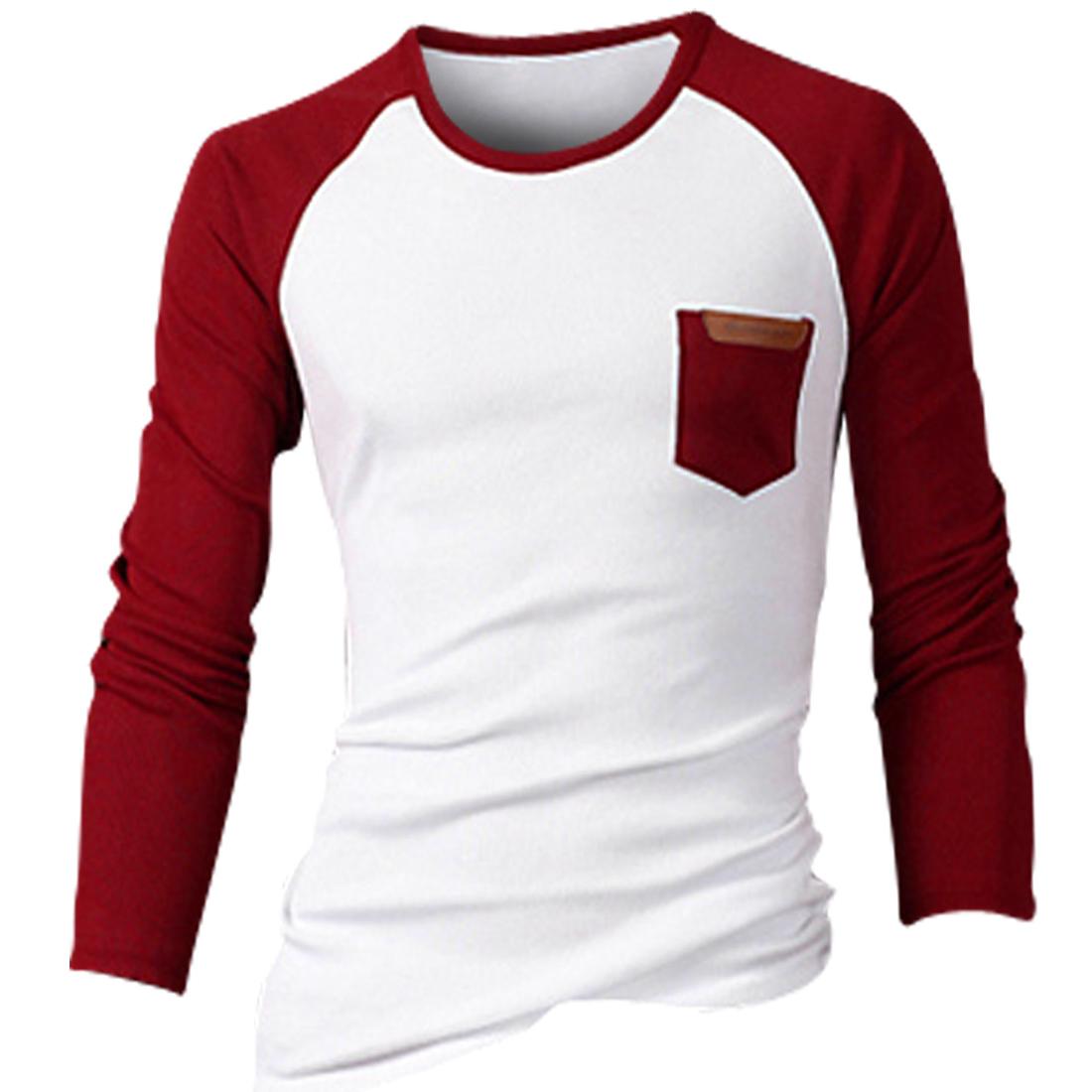 Men Pullover Round Neck Chest Pocket Design Elastic T-shirt Red White M
