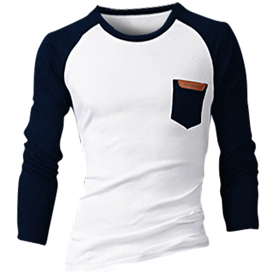 Men Round Neck Color Blocking Fashion T-shirt Navy Blue White M